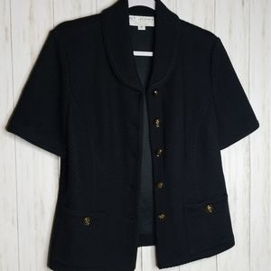 St. John Collection Black Short Sleeve Coat